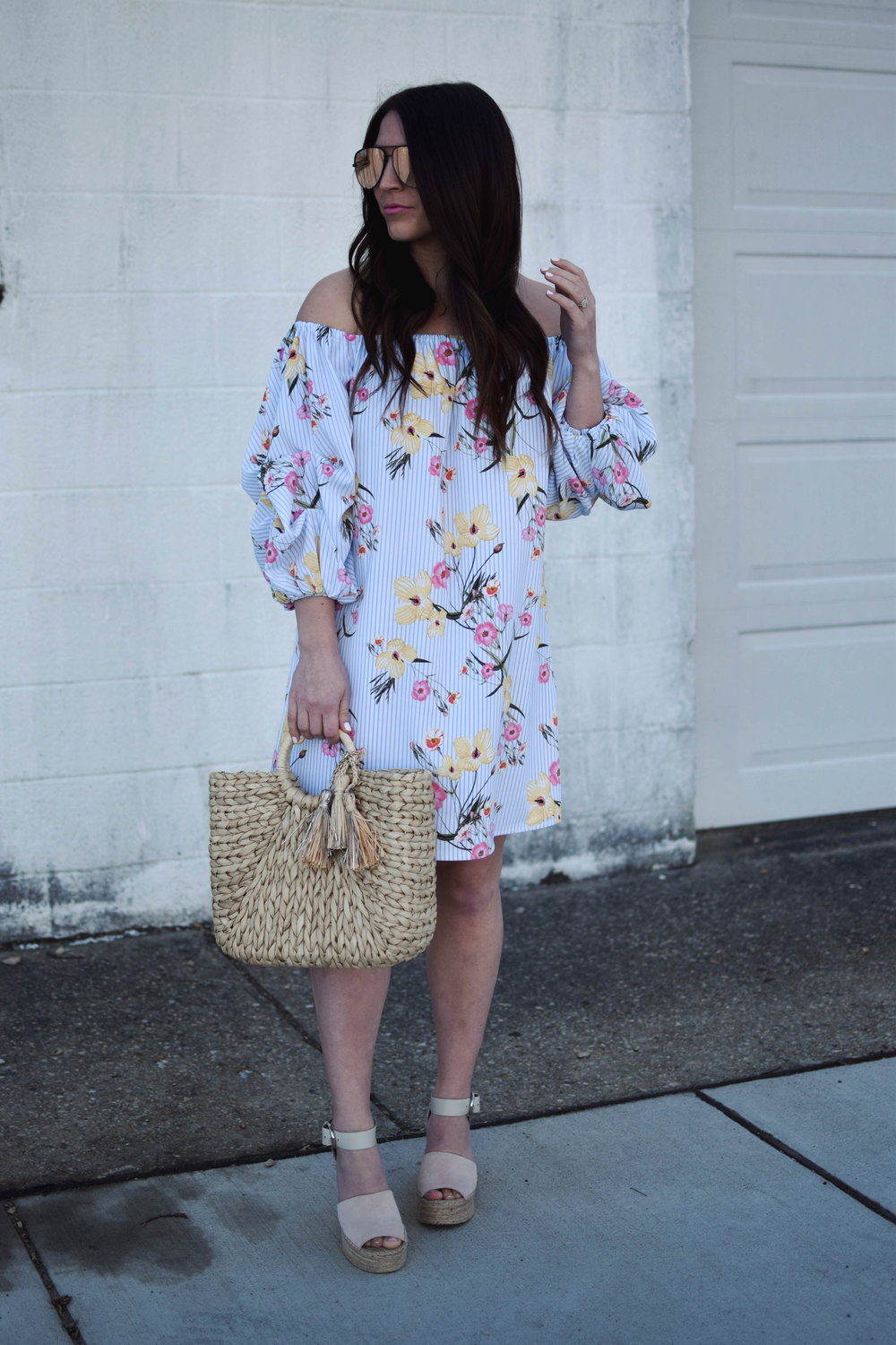 Floral Dress for Easter | Pine Barren Beauty | easter outfit idea, easter dress, floral dress for spring, spring fashion, spring outfit idea, what to wear to a spring wedding, straw bag, espadrille wedges