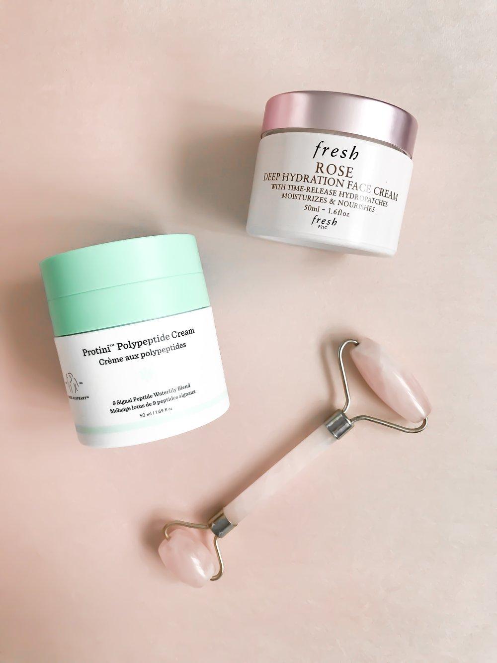Spring Skincare Routine   Pine Barren Beauty   spring skincare, drunk elephant protini face cream, fresh rose moisturizer, rose quartz facial roller