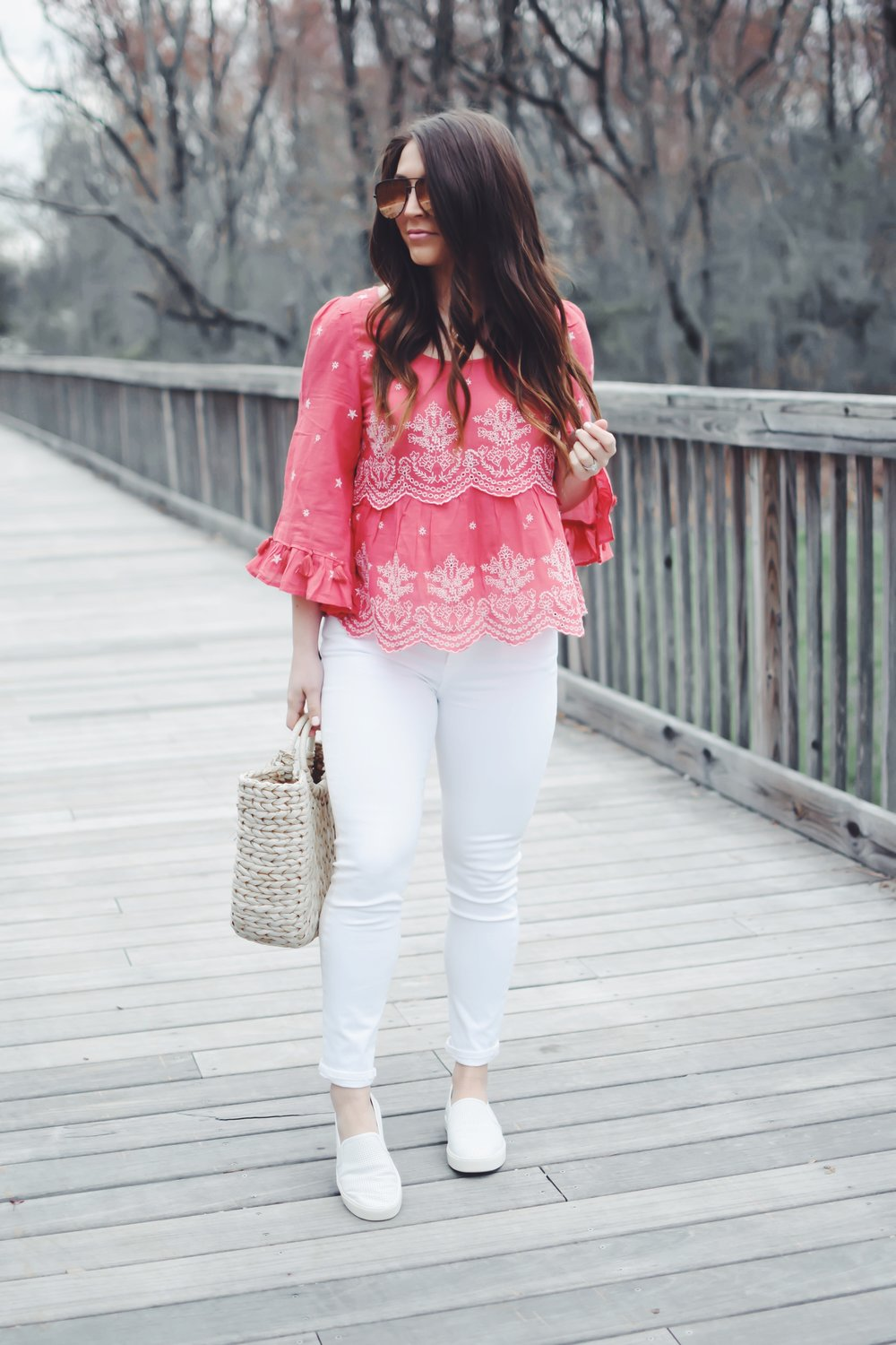Embroidered Top + White Denim | Pine Barren Beauty | spring fashion, spring outfit idea, American eagle boho top, citizens of humanity white denim, Vince white slip ons