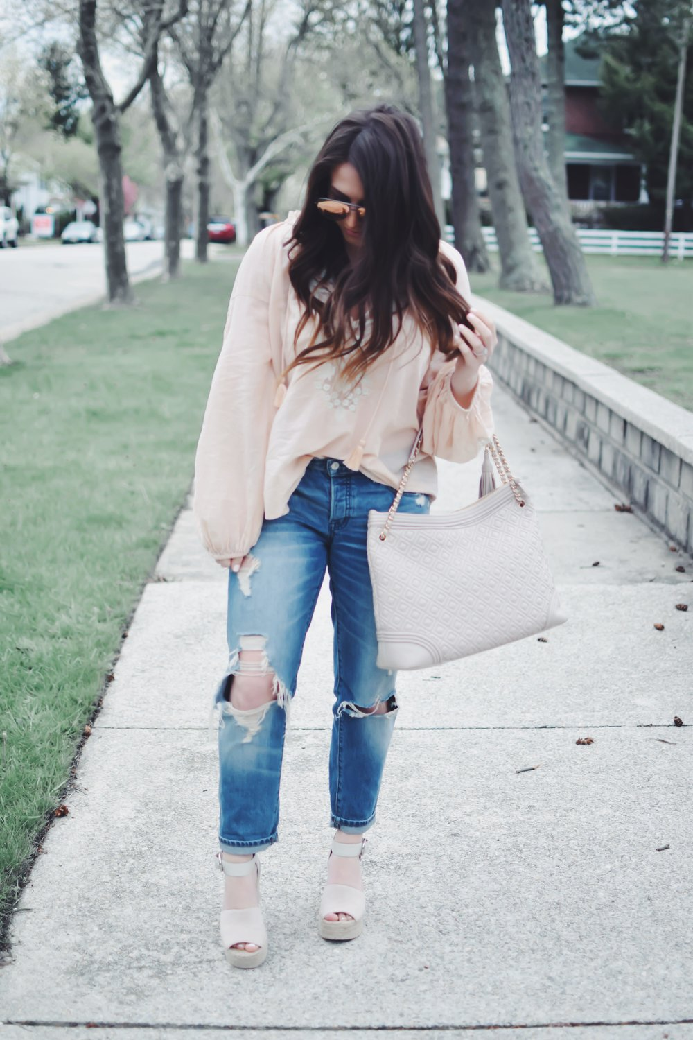 Boho Top with Lace Detail | Pine Barren Beauty | spring fashion, spring outfit idea, spring outfit inspiration, free people flowy top, Abercrombie distressed denim, Marc fisher wedges, tory burch handbag
