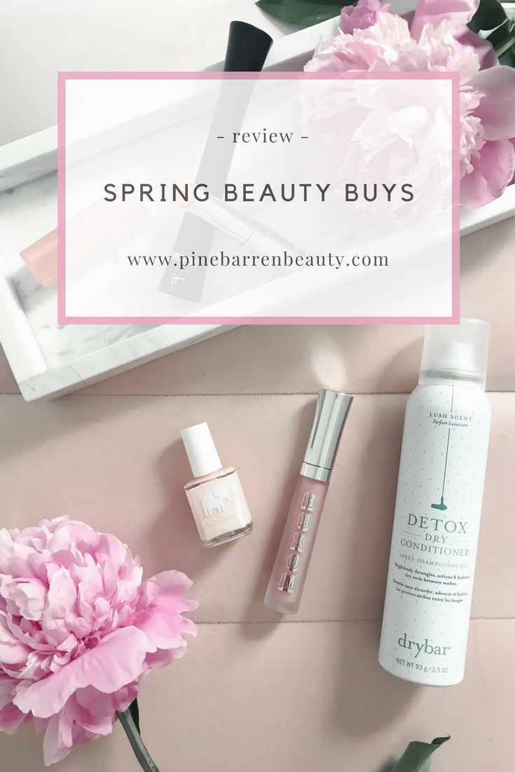 Spring Beauty Review | Pine Barren Beauty | spring makeup products, spring hair products, spring beauty, dry bar dry conditioner, it cosmetics superhero mascara, Dior lip glow, buxom lip gloss, Ella + Mila nail polish, beauty product flat lay