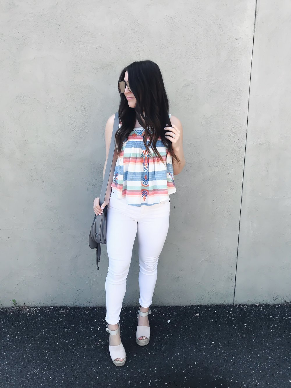 Instagram Round Up | Pine Barren Beauty | free people tank top, white denim, Marc fisher espadrille wedges, summer outfit