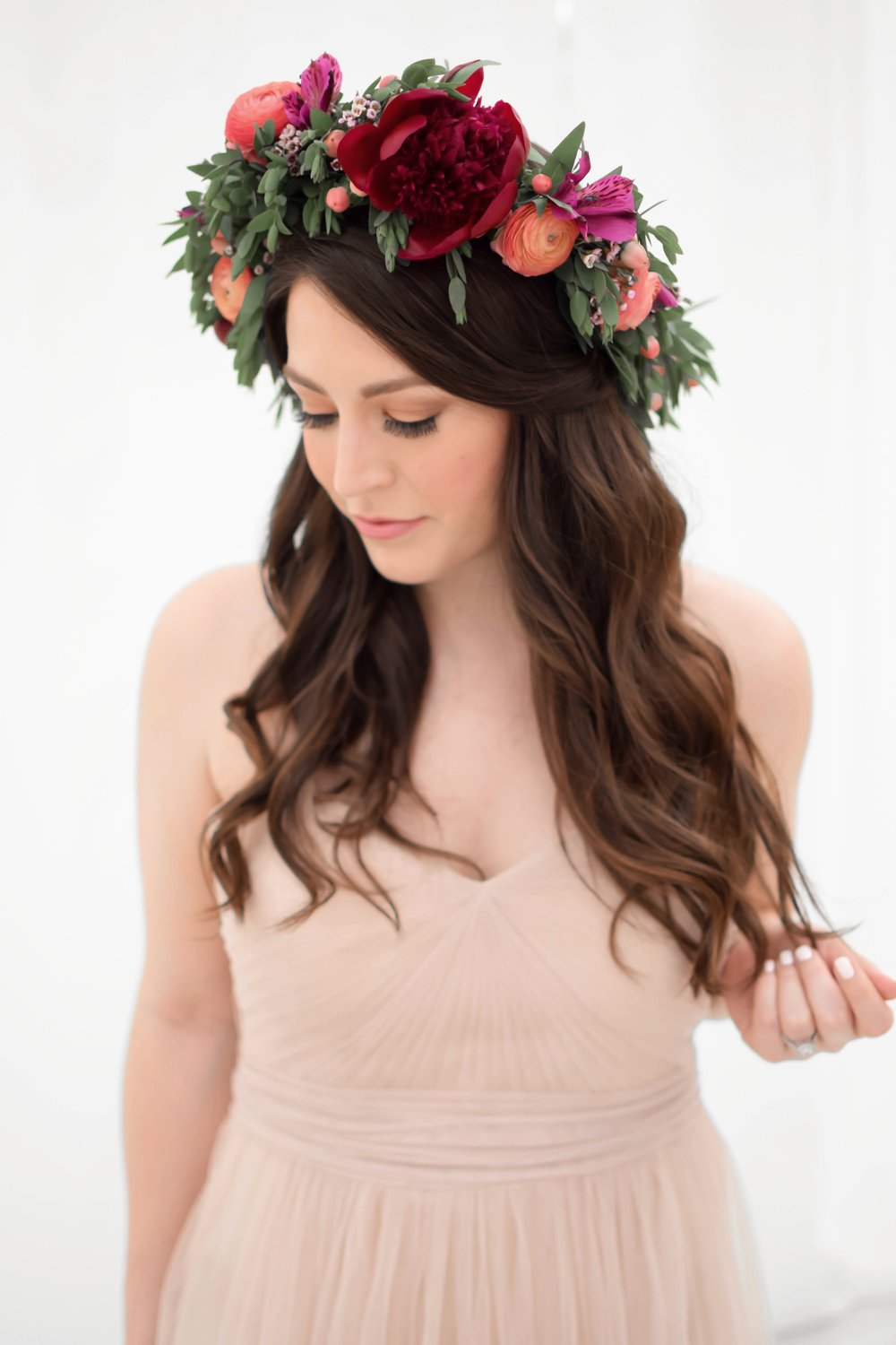 Bridal Looks for Less with eBay | Pine Barren Beauty | styled bridal shoot, bridal dress ideas, bridal party dress ideas, bhldn bridesmaid dress, tulle dress, flower crown, flower crown ideas, bridal flower crown, bridal hair, natural bridal makeup, boho bridal look