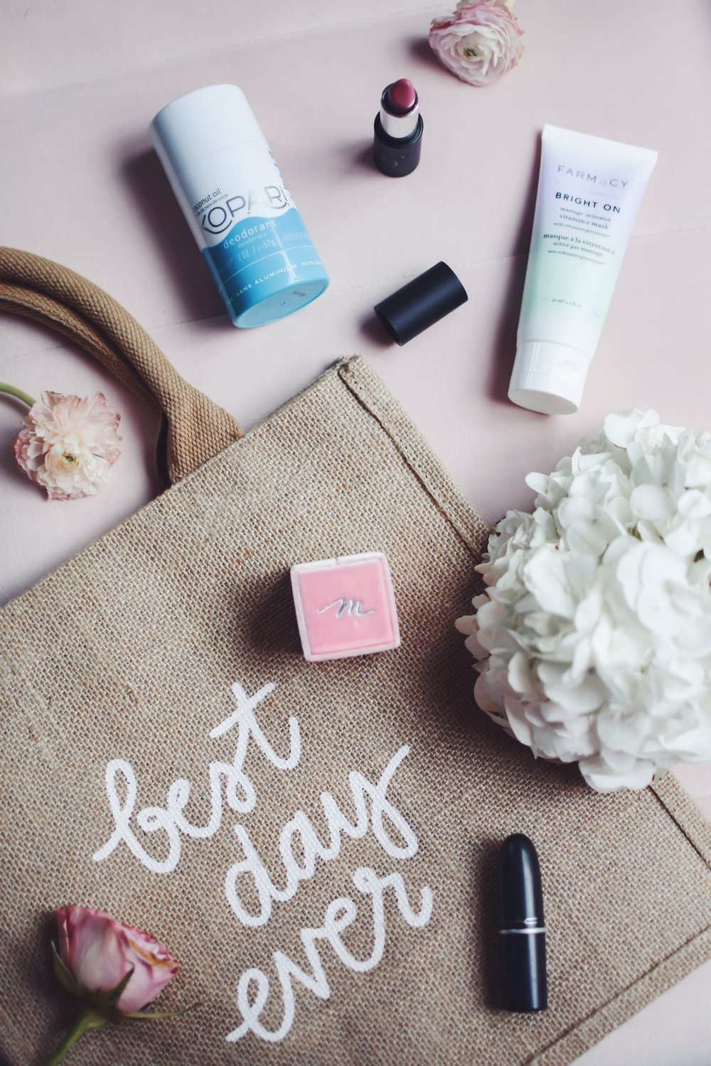 Wedding Day Must Haves | Pine Barren Beauty | kopari coconut deodorant, farmacy bright on face mask, glo skin beauty lipstick, Mac lipstick, the mrs ring box, best day every tote bag by the little market