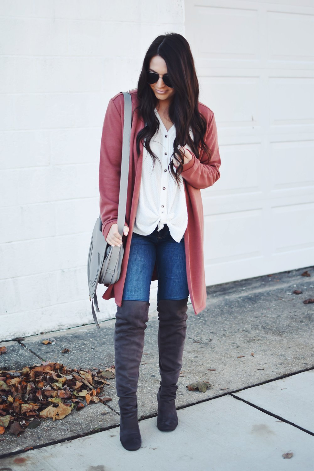 Thanksgiving Outfit Idea | Pine Barren Beauty | gentle fawn cardigan, urban outfitters thermal, ag jeans, over the knee boots, fall outfit idea, fall outfit inspiration