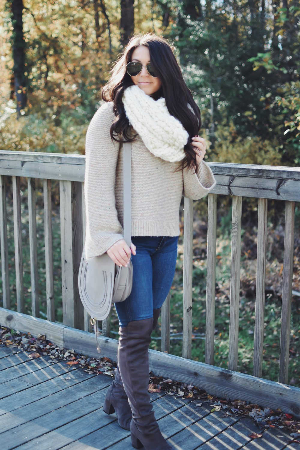 The Perfect Fall Outfit | Pine Barren Beauty | madewell sweater, free people scarf, ag jeans, over the knee boots, fall outfit idea, fall outfit inspiration