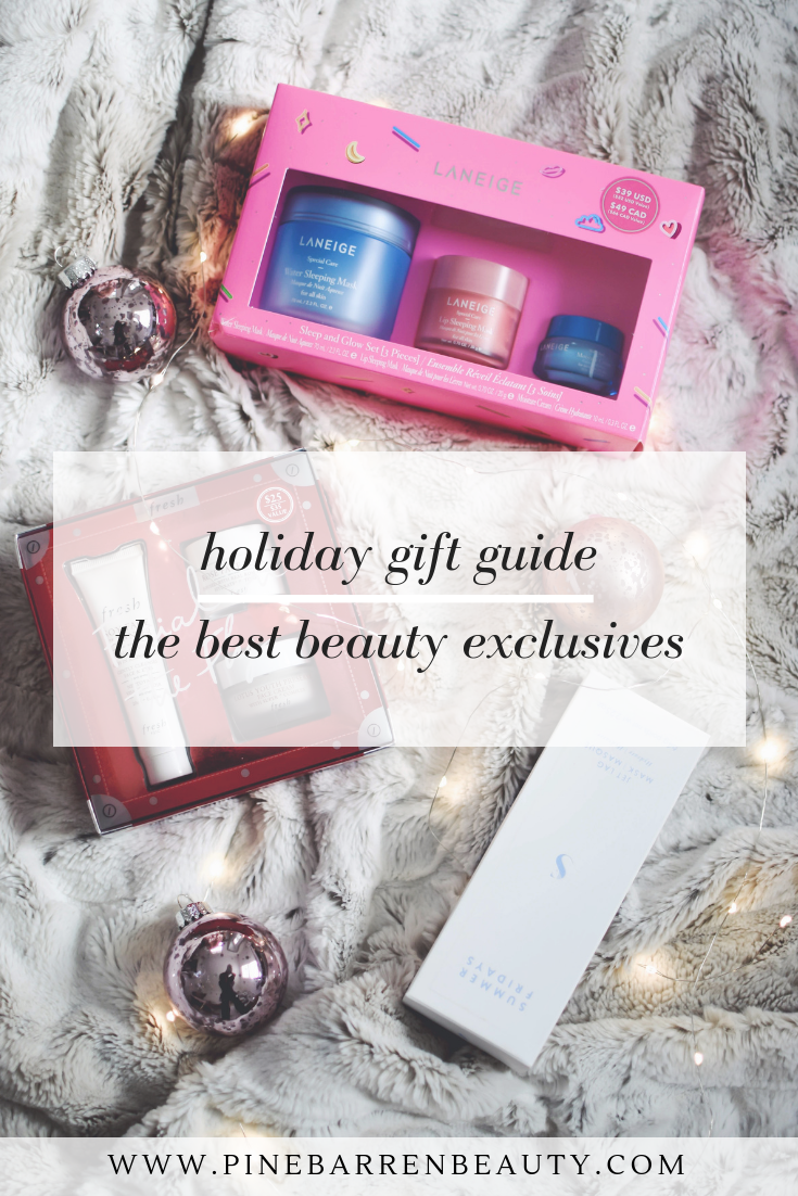Holiday Gift Guides: Best Beauty Exclusives | Pine Barren Beauty | holiday beauty exclusives, holiday beauty deals, holiday beauty sets, laneige holiday gift set, fresh holiday gift set, summer Friday's jet lag mask