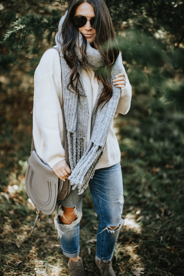 The Perfect Oversized Sweater + Scarf Combo | Pine Barren Beauty | h&m sweater, free people scarf, distressed denim, cozy outfit, winter outfit idea, winter outfit inspiration