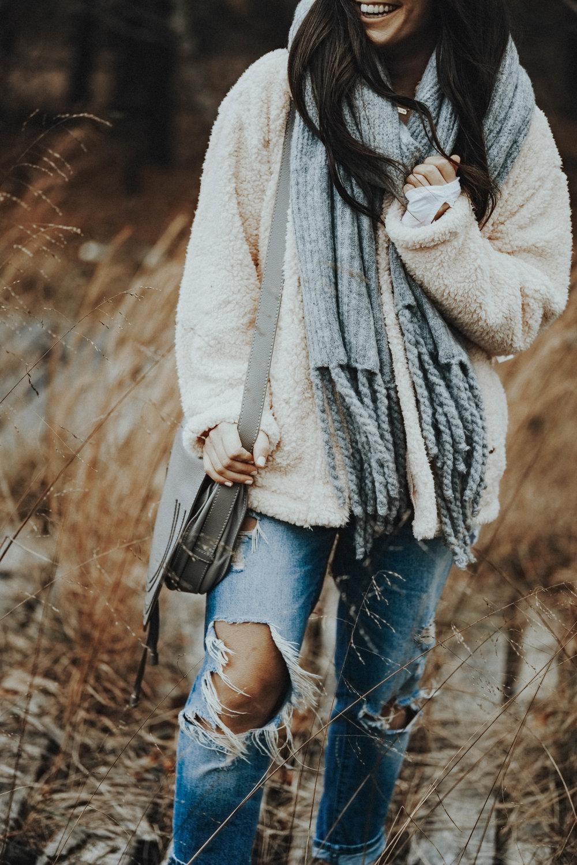 5 Teddy Coats Under $100 | Pine Barren Beauty | winter coat, teddy coat, winter fashion, winter outfit idea, free people scarf