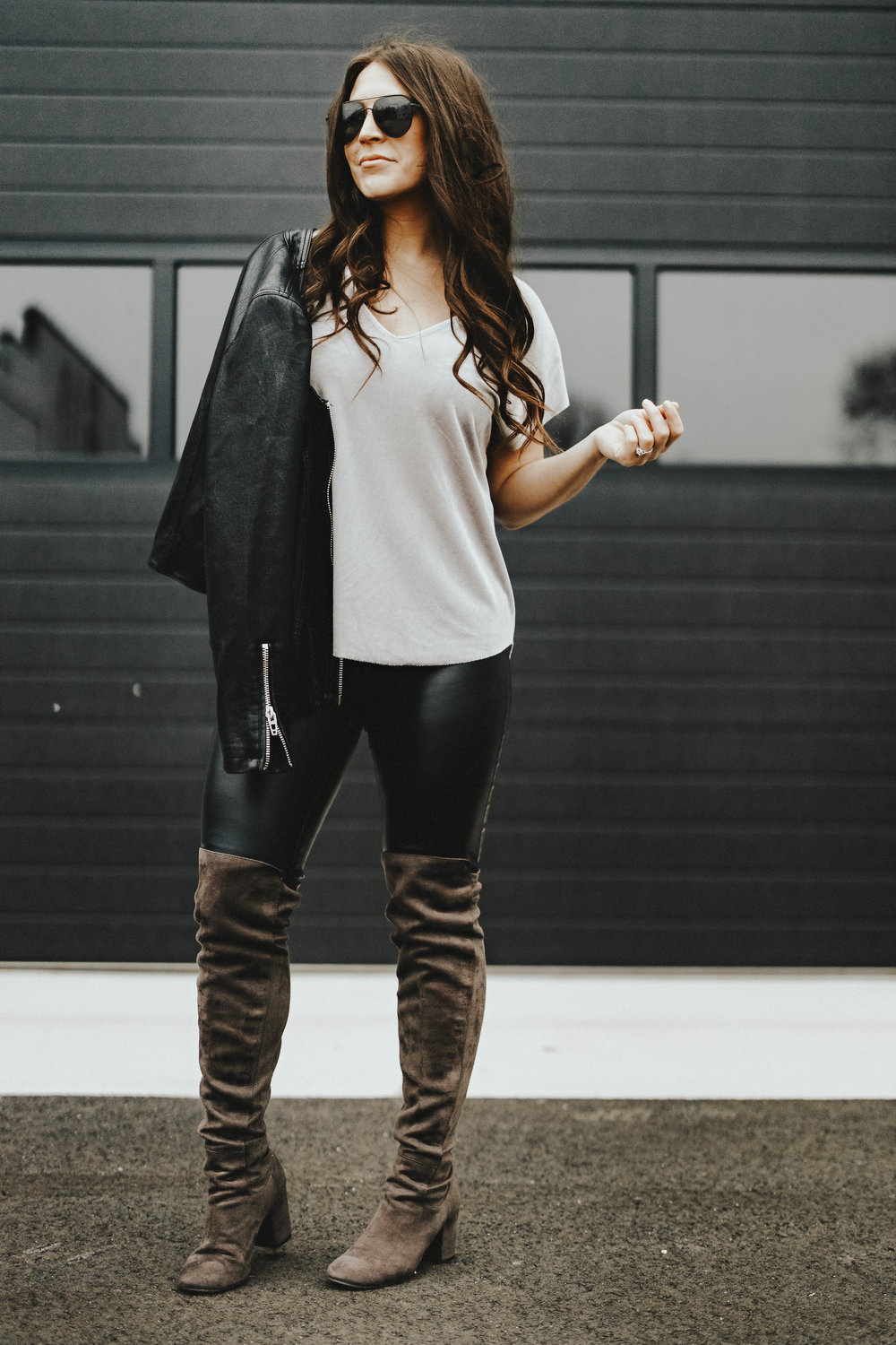 How to Style a Velvet Top for the Holidays | Pine Barren Beauty | gentle fawn velvet top, faux leather leggings, over the knee boots, holiday outfit idea, winter outfit idea