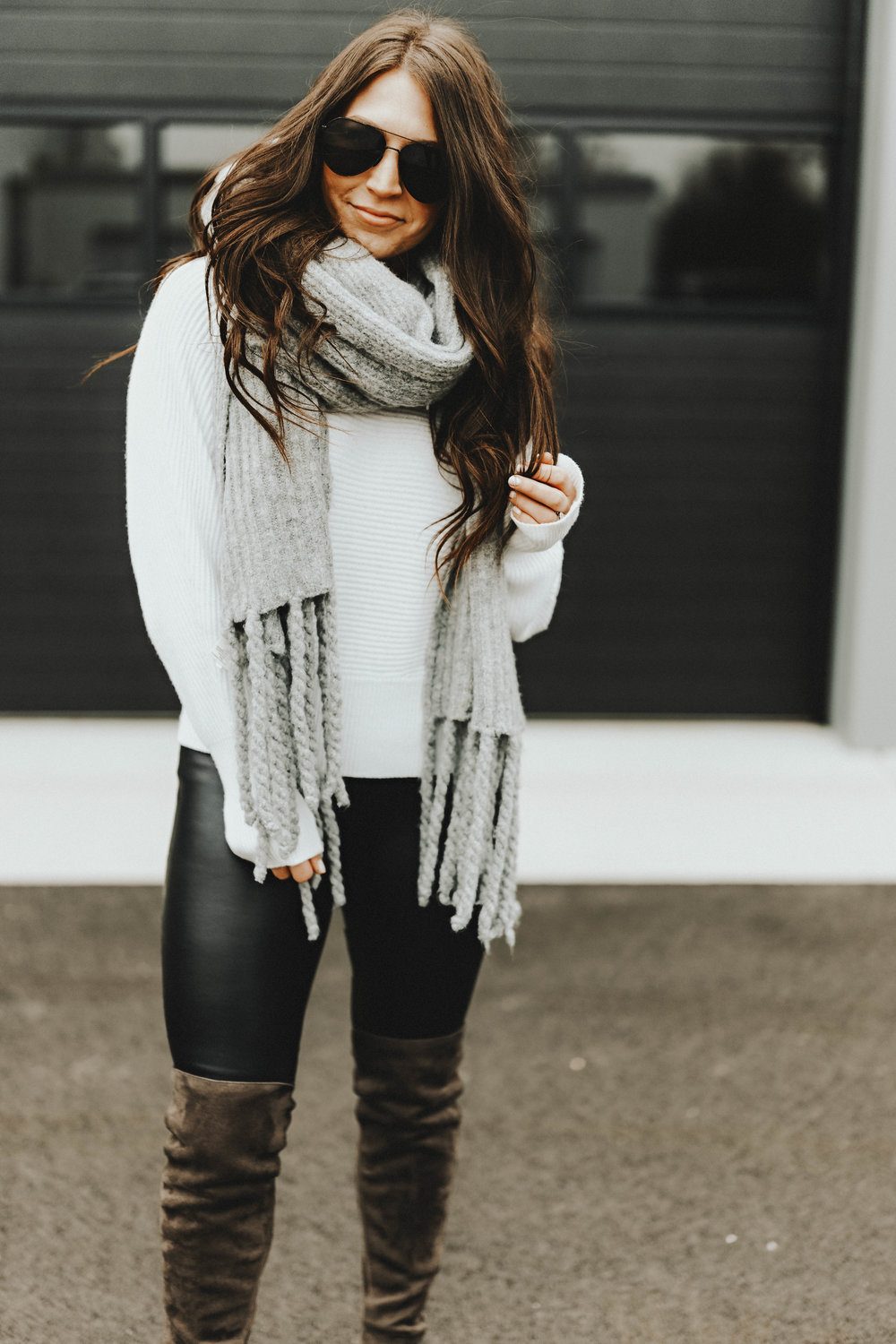 Sweater Weather | Pine Barren Beauty | gentle fawn sweater, free people scarf, faux leather leggings, over the knee boots, winter outfit inspiration, winter outfit idea