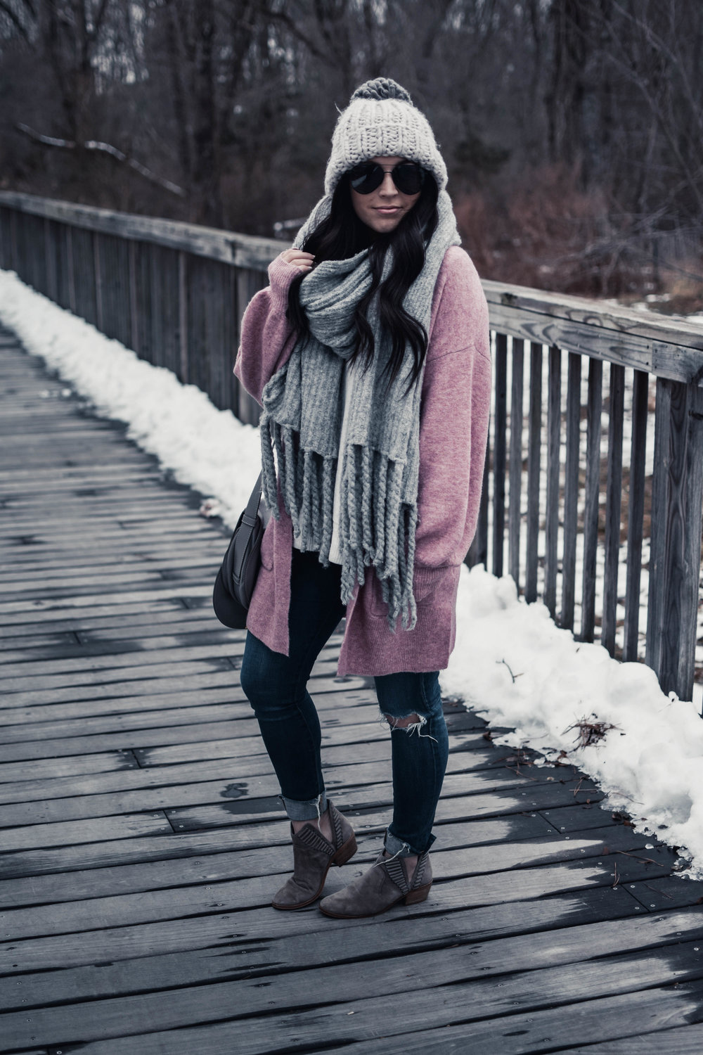 cozy winter outfit | pine barren beauty | madewell cardigan, ag jeans, free people scarf, winter outfit idea, cozy outfit idea, winter outfit inspiration