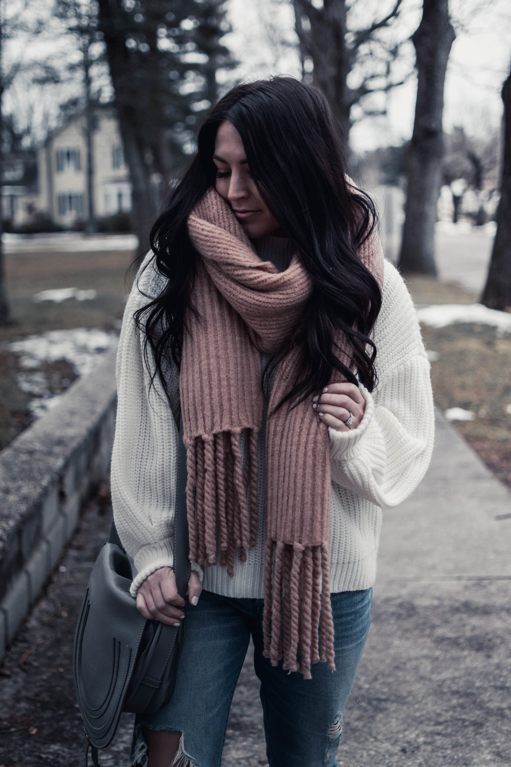 balloon sleeve sweater + cozy blanket scarf | pine barren beauty | sanctuary sweater, distressed denim, free people scarf, winter outfit idea, winter outfit inspiration, cozy outfit idea