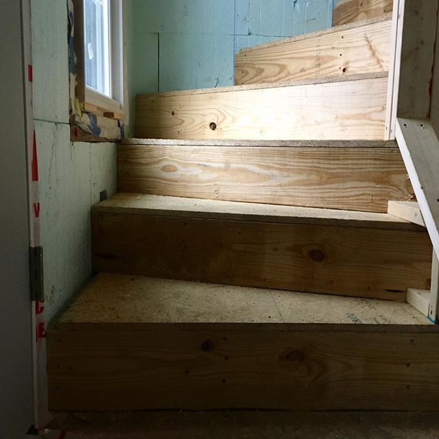 We have stairs inside! No more construction ladders.  #windertreads #smallspace #compactstairs