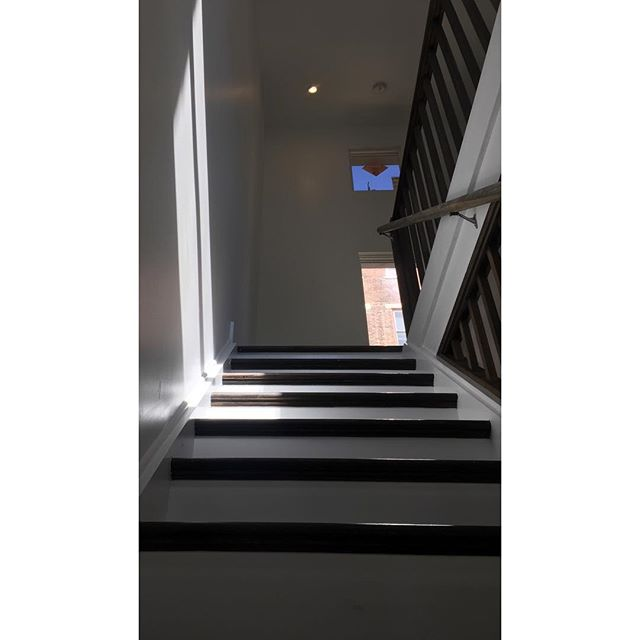 Looking up on Peete Street  #staircase #customrailing #customhome #startsmallonpeete #topfloorisverytall