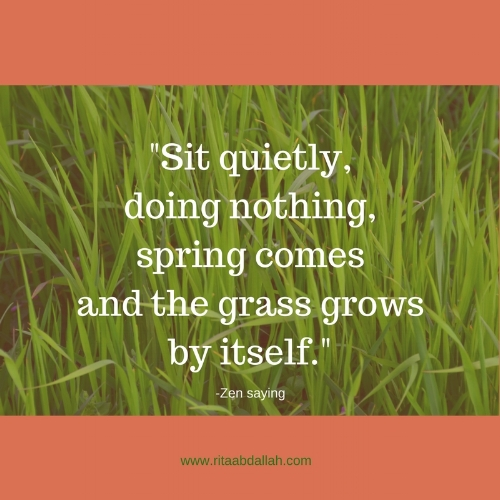 """Sit quietly, doing nothing, spring comes, and the grass grows by itself."" - Zen saying"