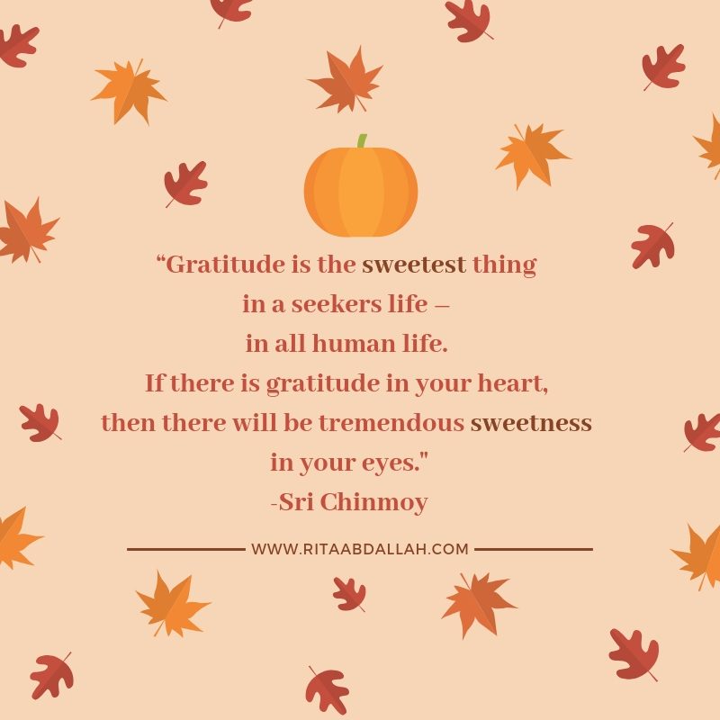 """""""Gratitude is the sweetest thing in a seeker's life- in all human life. If there is gratitude in your heart, then there will be tremendous sweetness in your eyes."""" -Sri Chinmoy, Author"""
