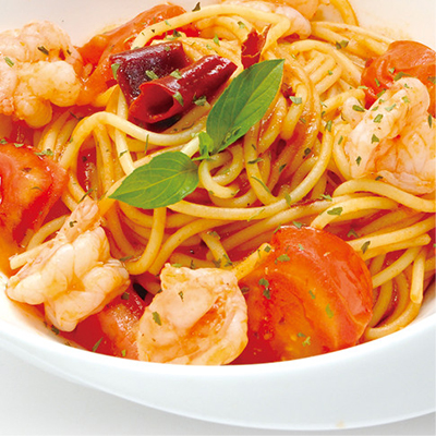 辣味鮮蝦茄汁麵   Spicy and Tomato Shrimp $ 280