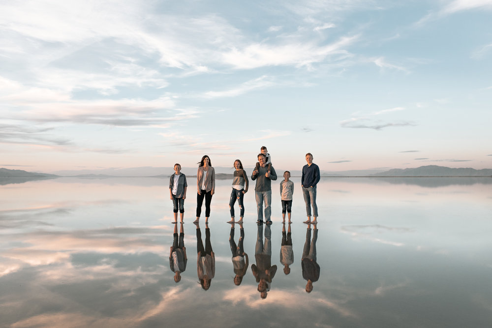 The Erickson family, taken in October, on a warm/calm day at Antelope Island.