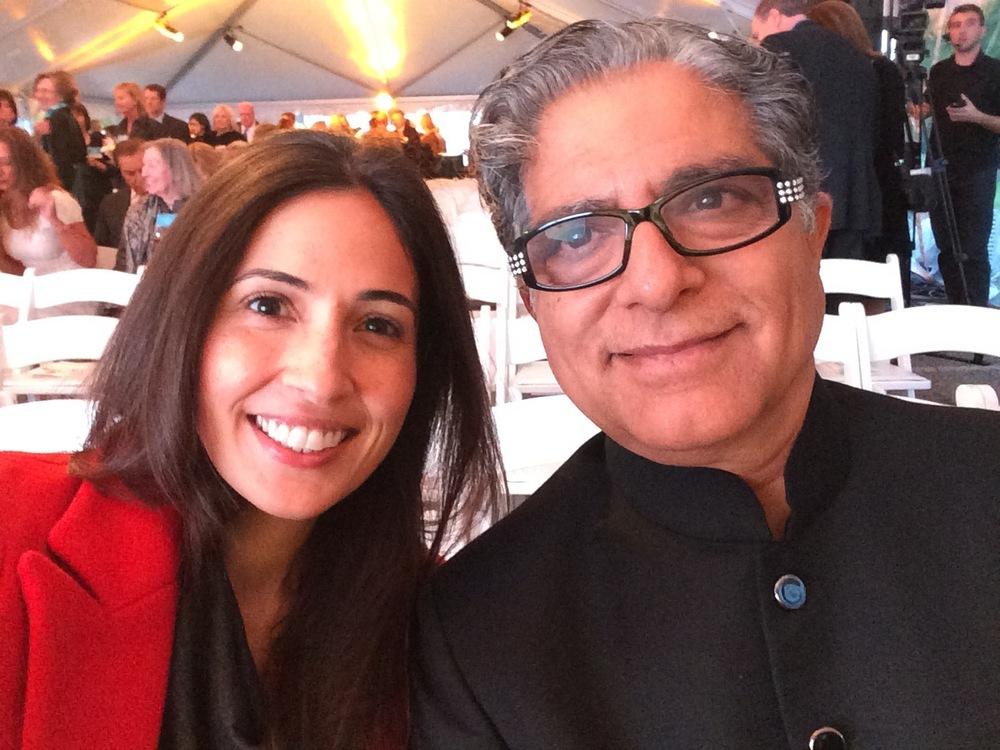 Rebecca with Deepak Chopra.