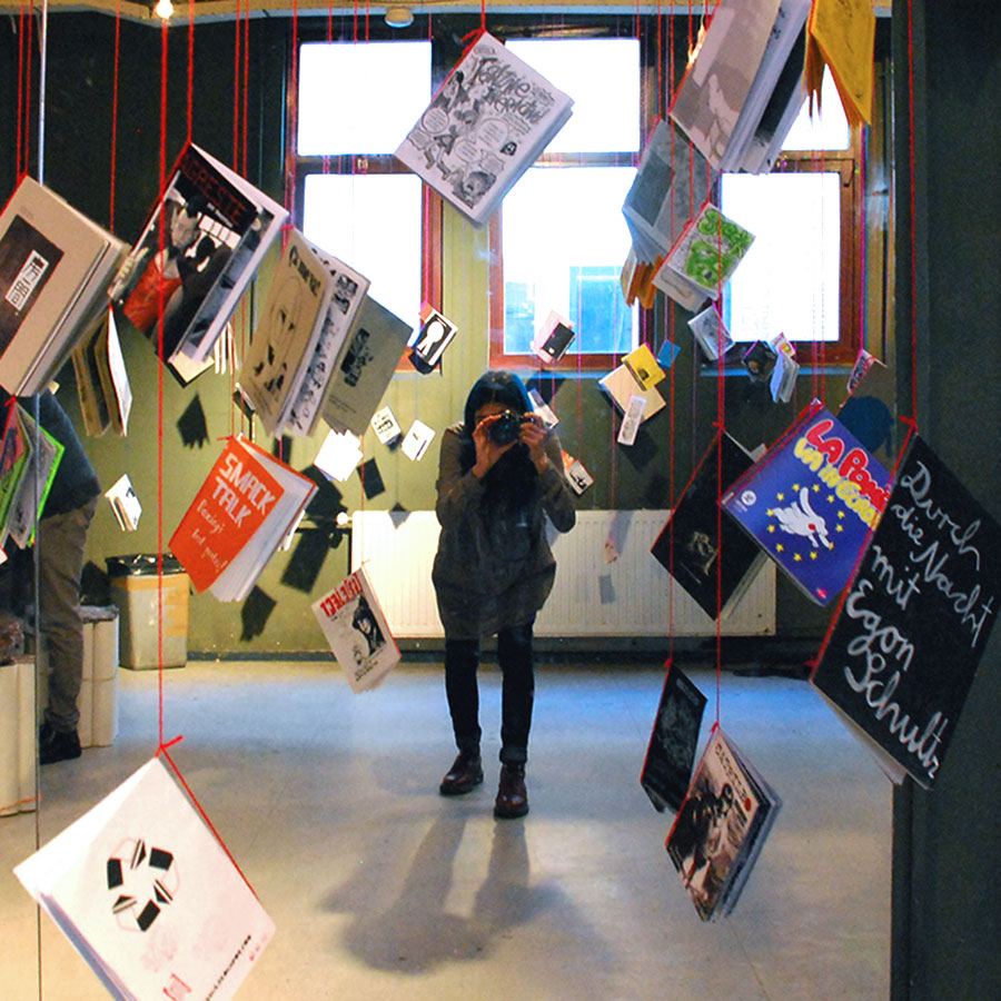 hanging zine library at the Rekult DIY fest - Rotterdam, Netherlands(europe)