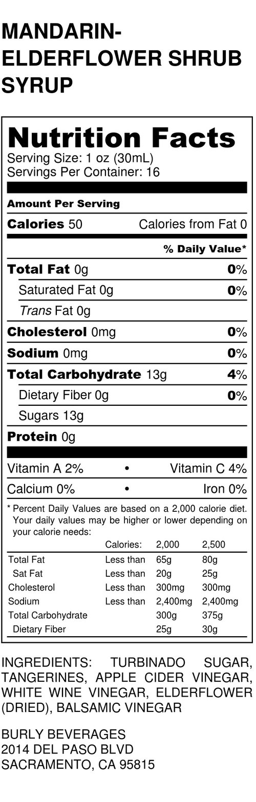 Nutrition Facts Burly Beverages