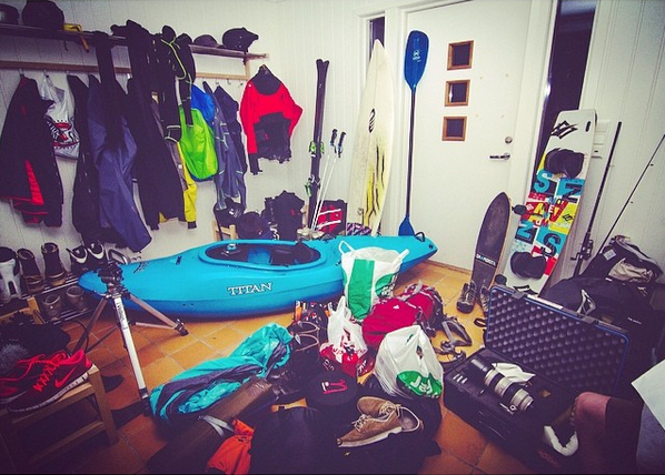 With a skillset as big as Jakob's, you need to devote a lot of space for gear. We wish our front hall looked this good!