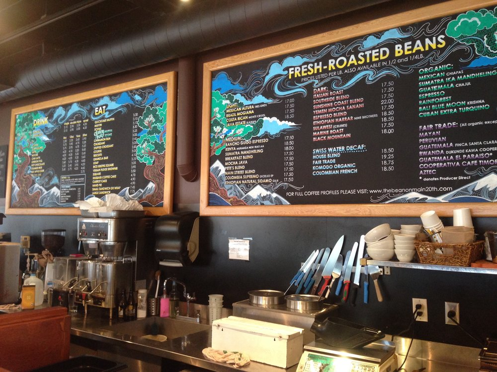 Bean Around the World Coffee: Main Street Menu Board