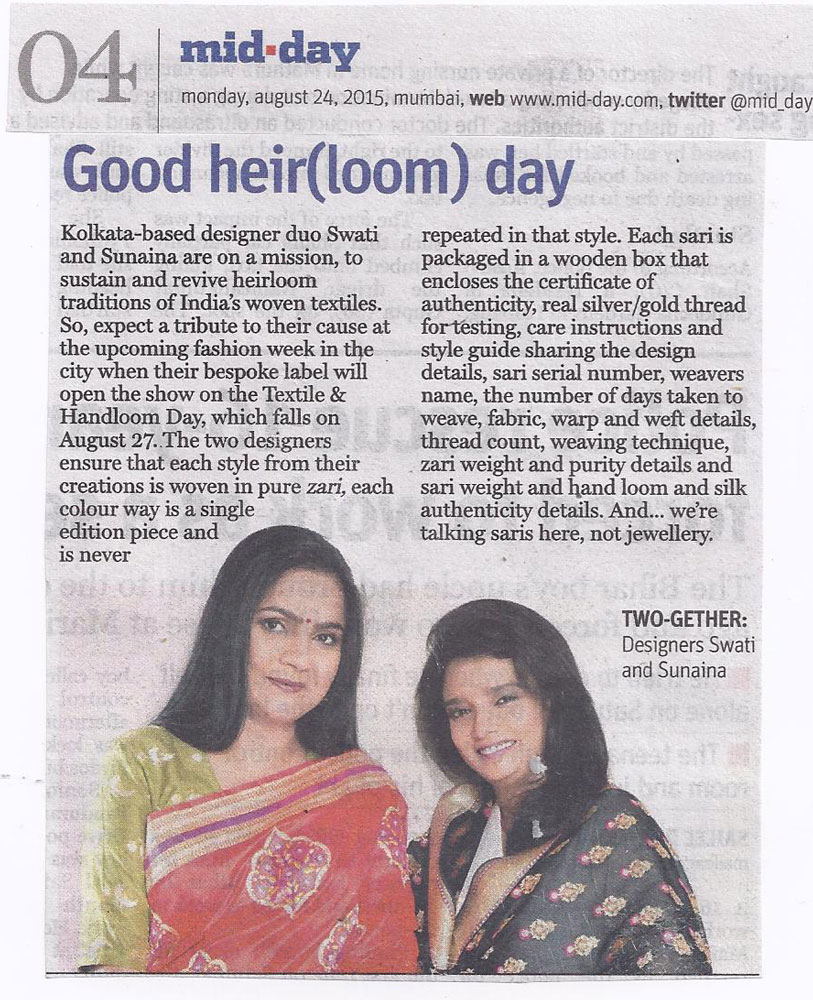 Mid day article on Good heir(loom) day featuring Swati & Sunaina
