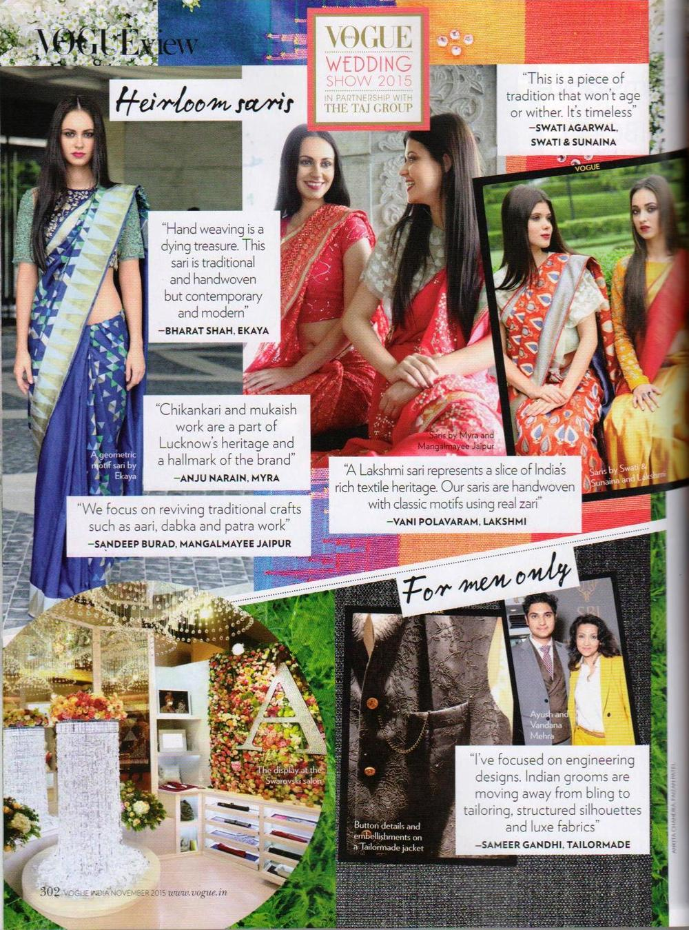 Featured in Vogue Wedding Show 2015