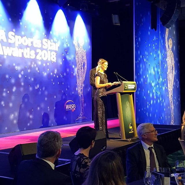 Presenting a fabulous prize on behalf of @hyundaiaus at the W.A. Sports Star Awards. What a great night celebrating WA talent! #hyundai #alldaieverydaiwa #perth #perthisok #racsportsstars #optusstadium