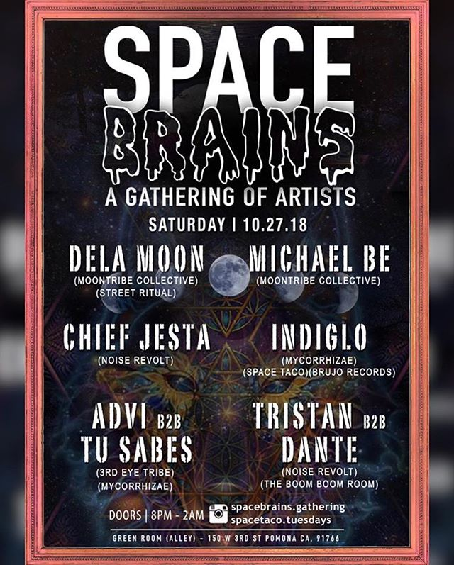 Today's the day! Some of the biggest names in the underground scene are gathering together for Pomona's wildest free event - @spacebrains.gathering! 🚀🌌🧠 You can catch our chief @djadvi going b2b with @tusabes.oc alongside @delamoonmusic @chiefjesta & @indiglo.official just to name a few! The event kicks off with an appreciation + opening ceremony at 8pm.. we hope to see you there! DM us for any questions... 21+, No entry fee! 🛸👽 . . . . . . . . . . . #spacebrains  #spacebrainsartistgathering  #3ET #3rdeyetribe #openyourmind #house #techno #techhouse #deephouse #meditation #underground #SoundHealing #vibrational #events #LA #OC #thirdeye #Chakra #openyourmind #goodvibes #love #goodmusic #deepervibes #spirtuality #frequency #openyourheart #yoga #housemusic #Heartspace