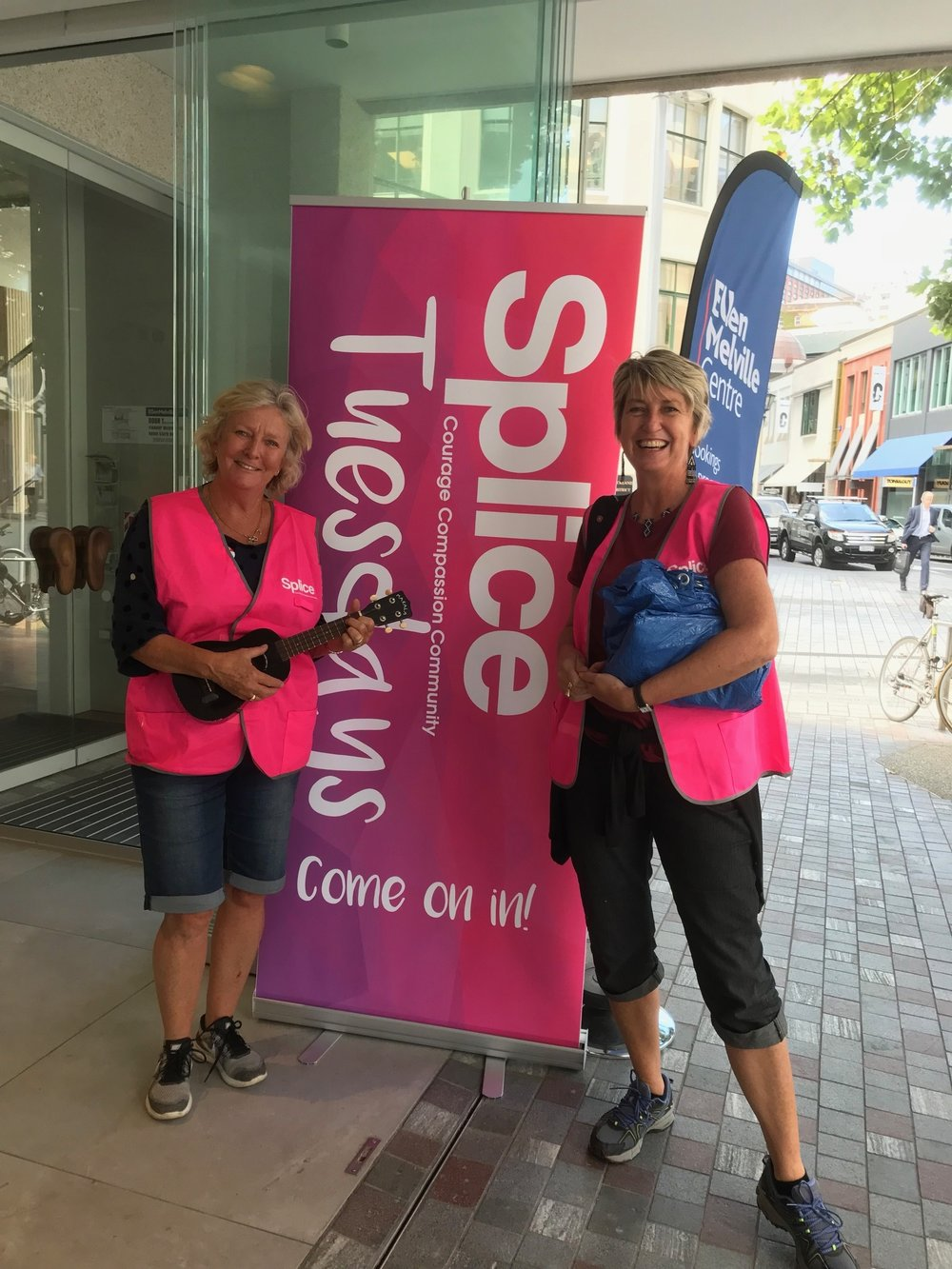 - Every Tuesday you'll find Splice down at the local community Ellen Melville community centre on the corner of Freyberg Place and High Street hosting and activating the 'urban lounge'open to the public. All our Splice activities are free. Come and join us.