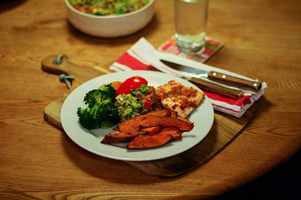 We love sweet potato fries as a side to a hearty meal, such as salmon, roasted veg & guacamole.
