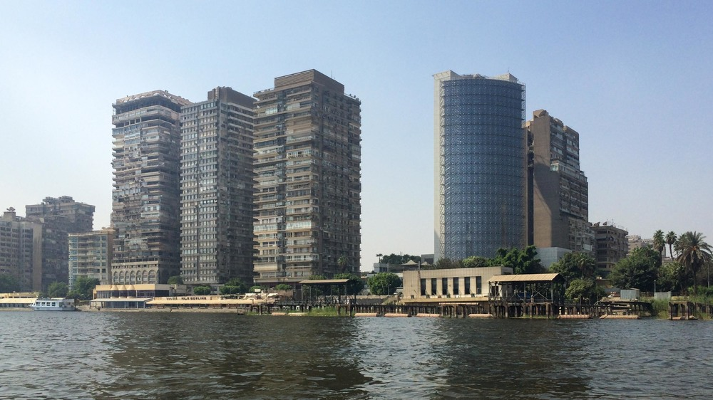 High rise flats and offices in Cairo, viewed from the river Nile. Shot on my iPhone.