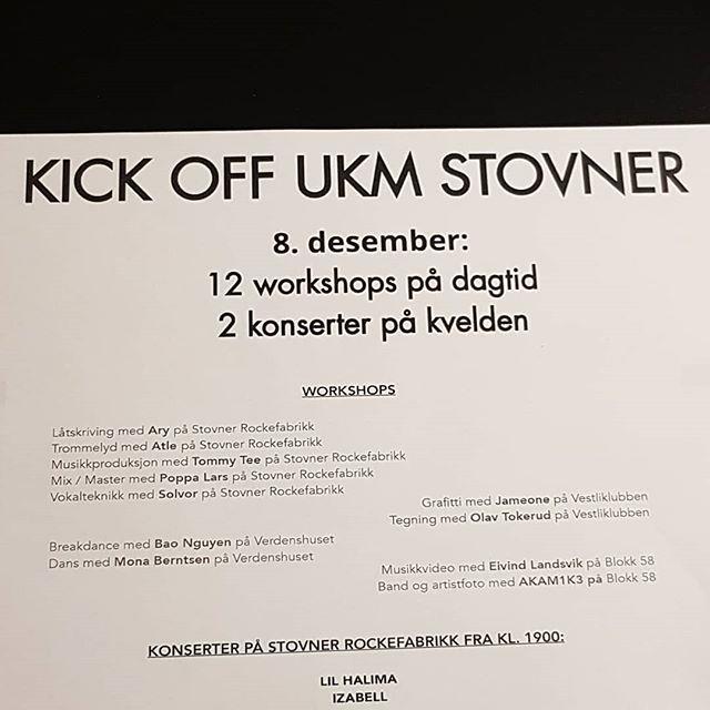Helt vilt kult kick-off for UKM Stovner 8.desember! Workshops med bl.a Ary, AKAM1K3, Eivind Landsvik, Mona Berntsen og Jameone. @donmartinoslo @akam1k3 @crazyminister @nalbandjr @kron3r Fortsatt ledige plasser! Spread the word!