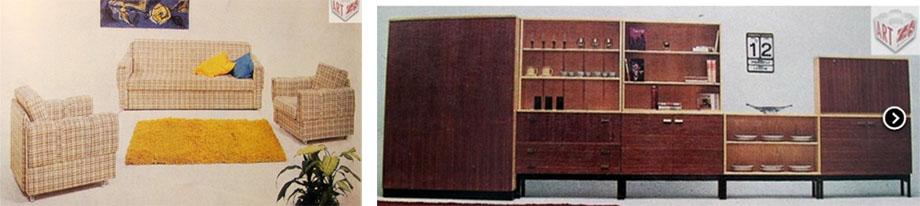 Čalouněná souprava, Jitona n.p.             Obývací pokoj U-550 A, Interiér Praha n.p.