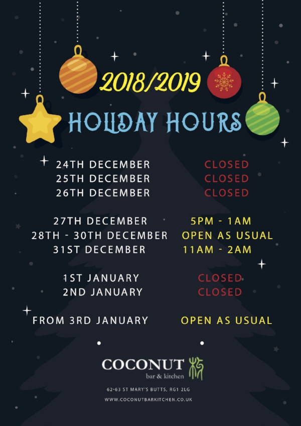 Coconut Holiday Hours