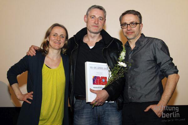 Susanne Schüle (Jury ACHTUNG BERLIN), Manuel Fenn (Regie u. Kamera PARCHIM INTERNATIONAL), Leopold Grün (Jury ACHTUNG BERLIN)