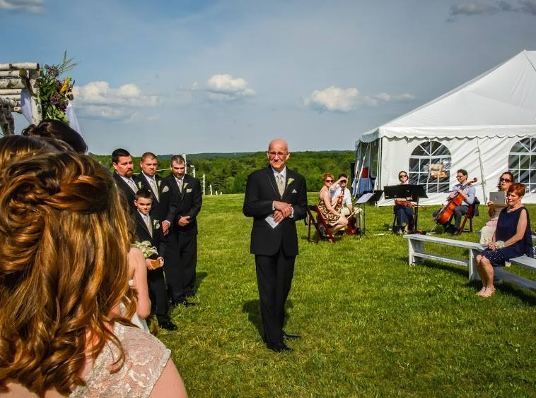 We do weddings! Here, we're playing at a beautiful hilltop wedding with custom arrangements for the bride