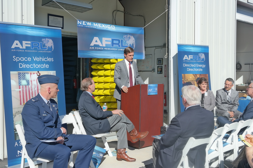 Senators Tom Udall & Martin Heinrich join AFRL officials to announce economic impact numbers.