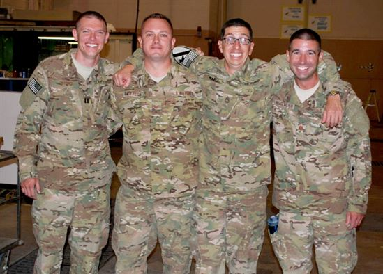 MAX POWER military team members, from left, Air Force Capt. Mike Gifford, Air Force Tech. Sgt. Mike Anderson, Army Sgt. 1st Class Guill Marez and Air Force Maj. Jeff Heggemeier, an Air Force Research Laboratory researcher when not serving in the Reserves or National Guard, pose during their 2012 deployment to Afghanistan.