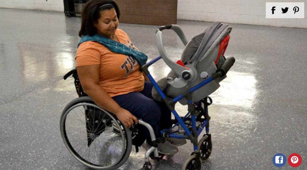 Teen Designs Stroller for Mom in Wheelchair