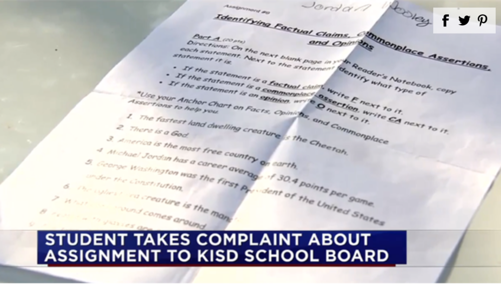 Parents Outraged by School Assignment That Says God's Existence is an Opinion