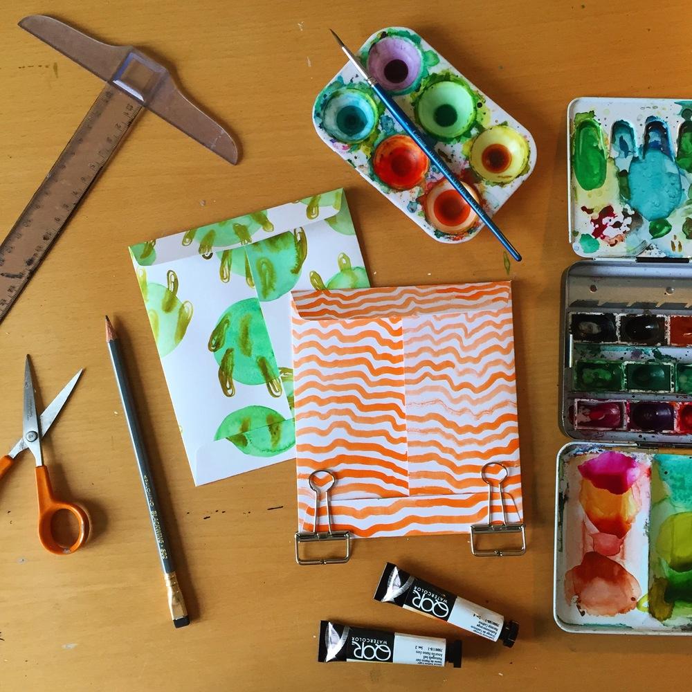 Cactus & stripe envelopes