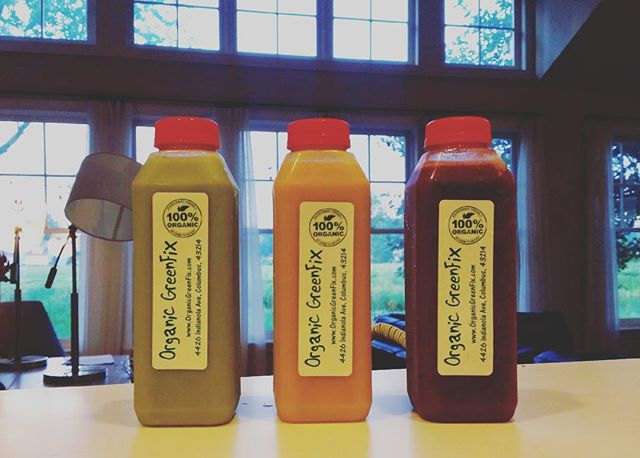 Try our new blends this week at the @northmarket , Granville Farmers Market, @worthingtonfarmersmarket , and our store at 4426 Indianola Ave.  Greeña-Colada, Raw Turmeric-Ginger Zinger, and Berry Antioxidant. Come get your fix 🌿