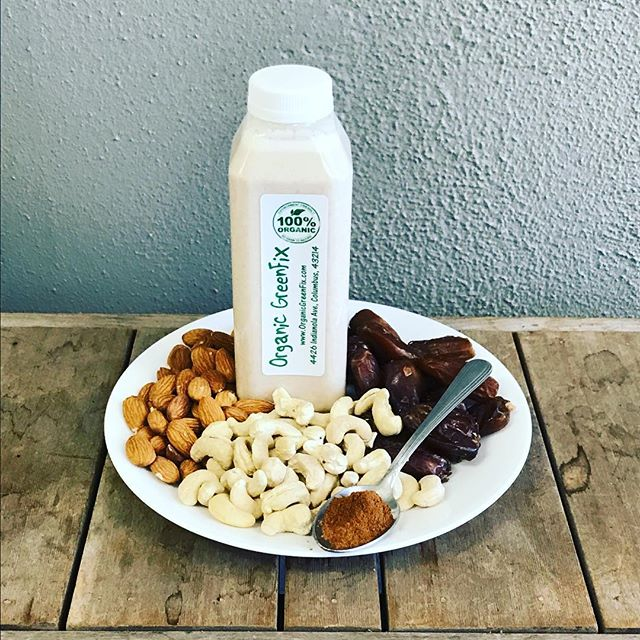 This beauty right here is 🌱Sprouted Cashew Almond Dream🌱 We sprout the cashews and almonds for 1-3 days and then blend them with Medjool Dates and Cinnamon to create this dreamy protein 💪packed beverage. Stop in at 4426 Indianola Ave. to give this baby a try.