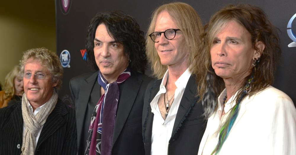 "(Left to right) ROGER DALTREY, PAUL STANLEY, TOM HAMILTON, AND STEVEN TYLER AT VHI'S ""RAISE YOUR VOICE"" Benefit IN LOS ANGELES."