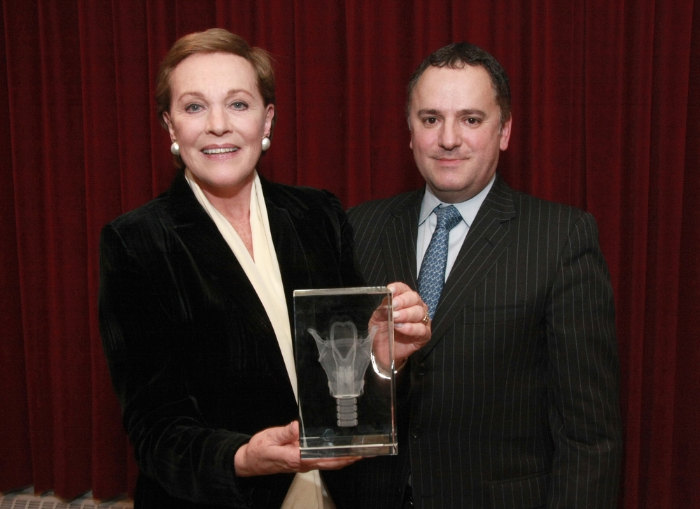 Julie Andrews, Honorary Chairwoman with scott solombrino, board director.  VHI honored Ms. Andrews for her service and dedication to assisting the MGH researchers in the mission to solve vocal fold scarring.