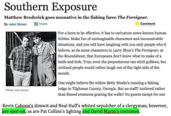 David Murin dresses Matthew Broderick in The Foreigner directed by Scott Schwartz